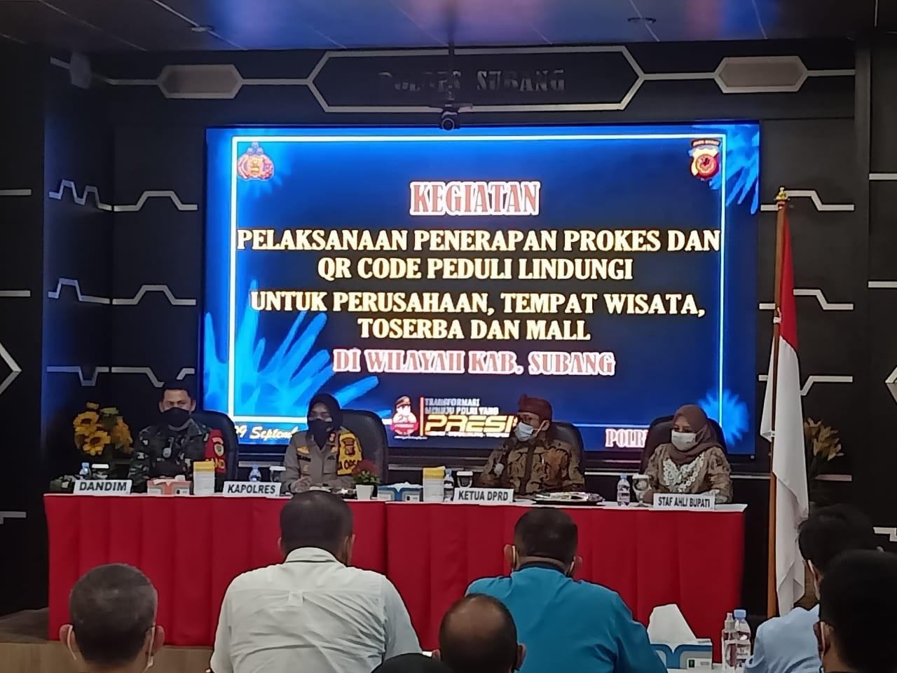 KETUA DPRD SUBANG HADIRI UNDANGAN POLRES  SUBANG TERKAIT PENERAPAN PROKES DAN QR CODE PEDULILINDUNGI